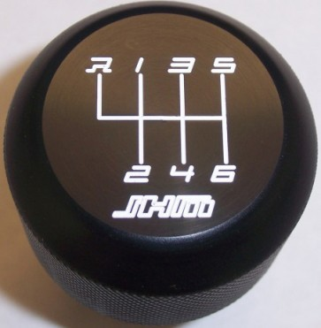JHM Weighted Black Delrin Shift Knob (6-speed w Red lettering - Clamp on Style) for Audi-VW B5, C5, B6, B7, B8 and B9