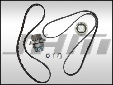 JHM Timing Belt Kit w Serpentine Belt and Water Pump for Audi B7 A4 2.0t FSI