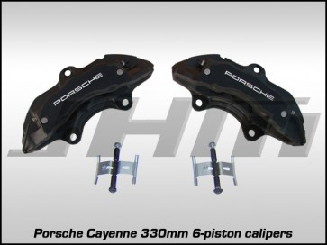 Front Brake Caliper Pair - Black w White Letters 330mm - Porsche Cayenne 17Z