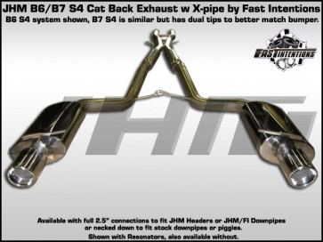 "Exhaust - Cat-Back - JHM B6 S4 Stainless Steel 2.5"" w X-Pipe by FI"