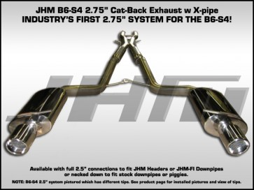"Exhaust - Cat-Back - Stainless Steel 2.75"" w/ X-Pipe (JHM) for B6-S4"