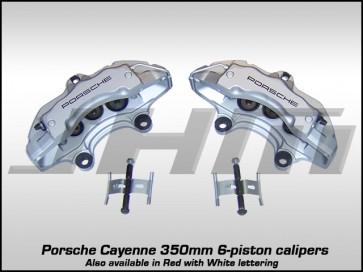 Front Brake Caliper Pair - Silver w Black Letters 350mm - Porsche Cayenne 18Z