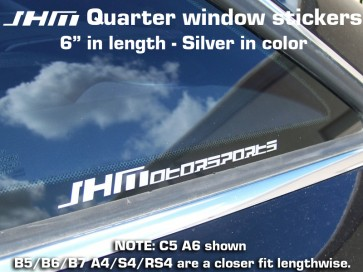 "JHM ""JHMotorsports"" Silver quarter window sticker"