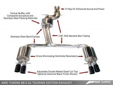 Exhaust - Cat-Back - AWE TOURING EDITION with Chrome 90mm Tips for B8 S4 3.0T