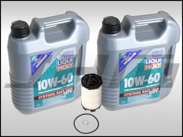 Oil Change Kit (JHM) LiquiMoly Synthoil Race Tech GT1 (10w60) for gen 1 R8 w 4.2l V8 and 5.2l V10 w all 7 drain plug gaskets