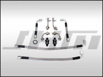Stainless Braided Turbo Oil Line and Strainer/Screen Relocation Kit (JHM-Serviceable) for TSB-2044640 on C7 S6-S7-RS7 and D4 A8-S8 4.0T