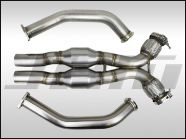 "Exhaust - High-Flow Cat Downpipes with X-Pipe and Integrated Baffle System (JHM) for the B8 S4-S5 Q5-SQ5 C7 A6-A7 3.0T 4.2L w/ 2.5"" CB Connection"