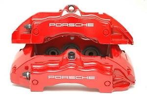 Front Brake Caliper Pair - Red w White Letters 350mm - Porsche Cayenne 18Z