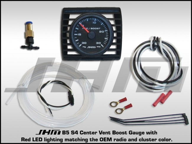 JHM_Boost_Gauge_30_B5S4 audi jhm center vent boost gauge for b5 s4 w red lighting B6 S4 at panicattacktreatment.co