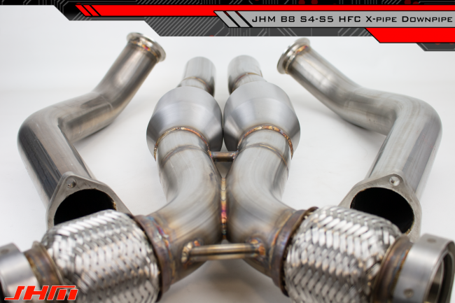 Exhaust - High-Flow Cat Downpipes with X-Pipe (JHM) for the B8 S4-S5 Q5-SQ5  C7 A6-A7 3 0T and 4 2L FSI