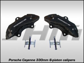 Front Brake Caliper Pair - Black w White Letters 330mm - Porsche Cayenne 17Z